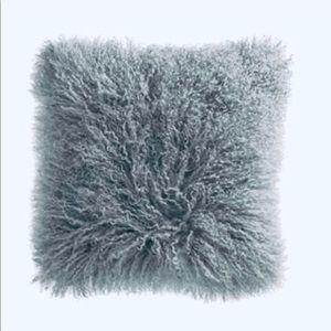 West Elm Mongolian Fur Throw Pillow in Grey, 16x16